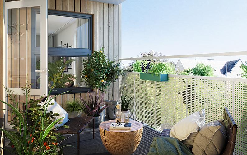 Balkong med utsikt och grönska