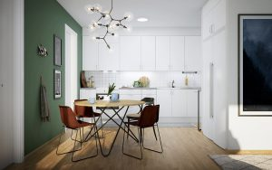 Kök som öppnar sig mot vardagsrum