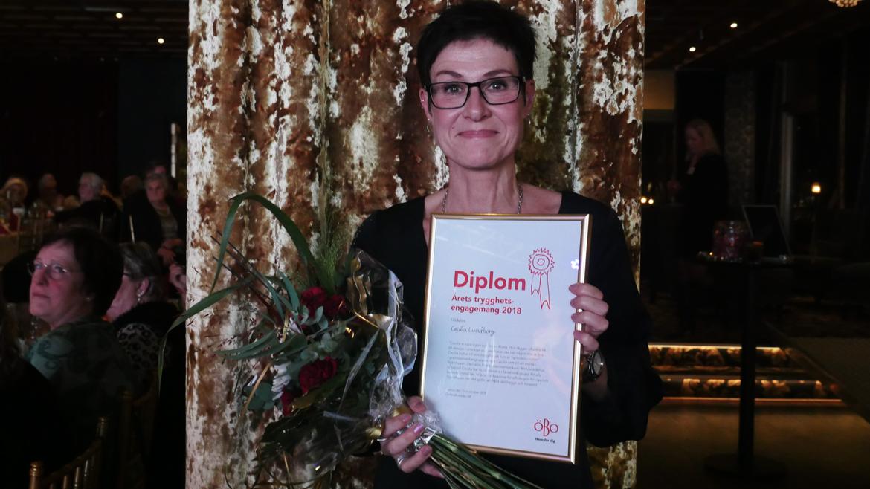 ÖBO-galans pristagare Cecilia Lundborg för årets trygghetsengagemang 2018.