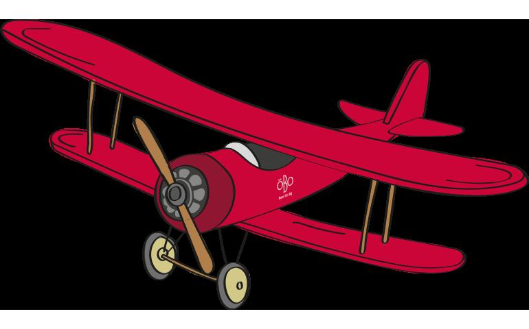 Tecknat flygplan, dubbeldäckare. med ÖBOs logotyp